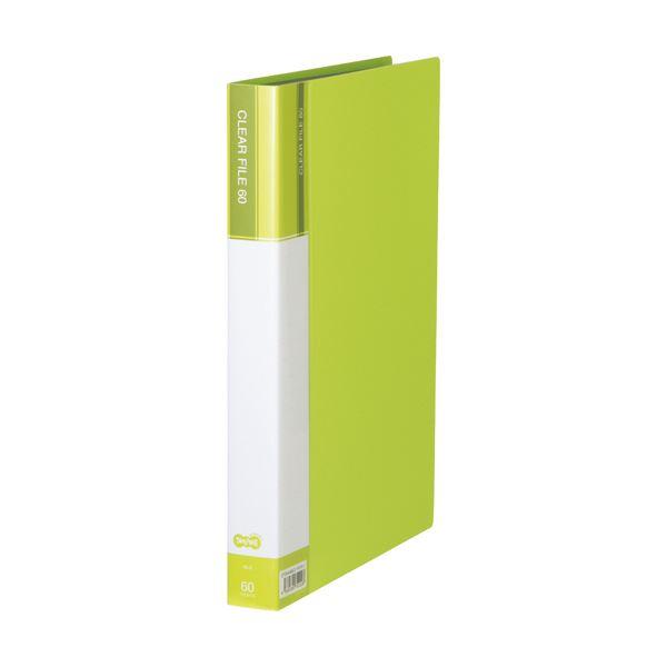 (まとめ)TANOSEEクリヤーファイル(台紙入) A4タテ 60ポケット 背幅34mm ライトグリーン 1セット(6冊) 【×2セット】 緑