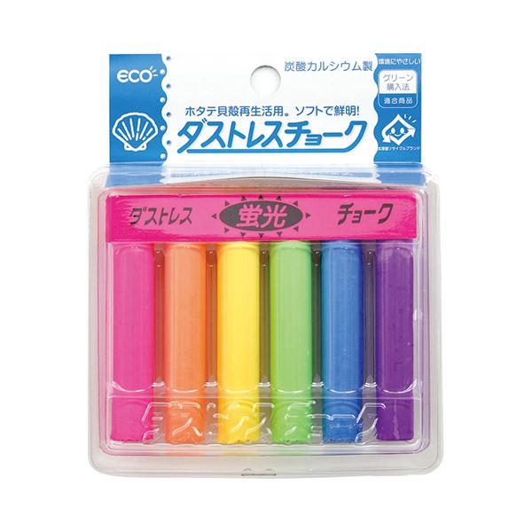 (まとめ) 日本理化学 ダストレスチョーク 炭酸カルシウム製 6色 DCK-6-6C 1箱(6本:各色1本) 【×30セット】