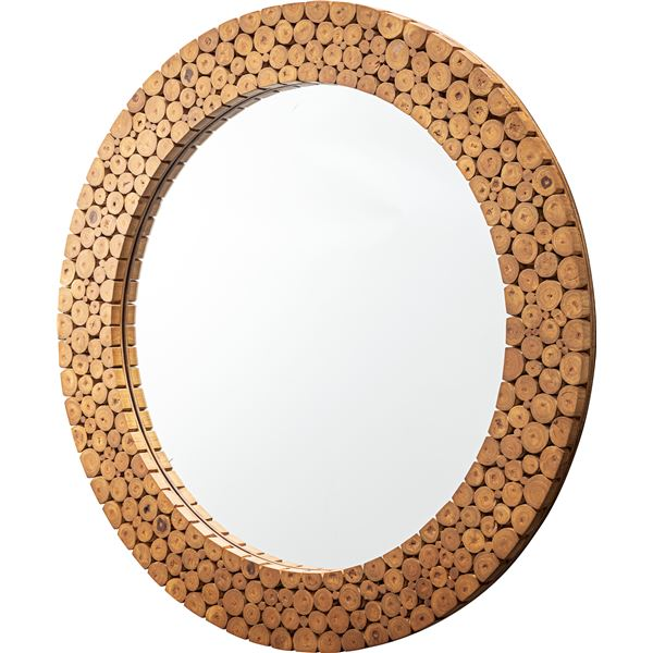 モダン ウォールミラー/姿見鏡 【直径80cm×高さ3.5cm】 壁掛け ラタン 飛散防止 〔ベッドルーム リビング 玄関 脱衣所〕