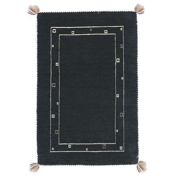 ギャッベ ラグマット/絨毯 【約200×250cm ブラック】 ウール100% 保温性抜群 調湿効果 オールシーズン対応 〔リビング〕 黒