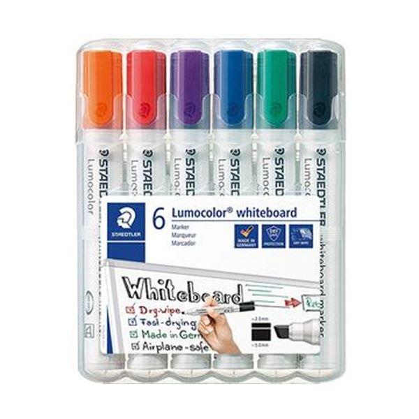 (まとめ)ステッドラー ルモカラーホワイトボードマーカー 角芯 6色(各色 1本)351BWP6 1パック【×10セット】 白