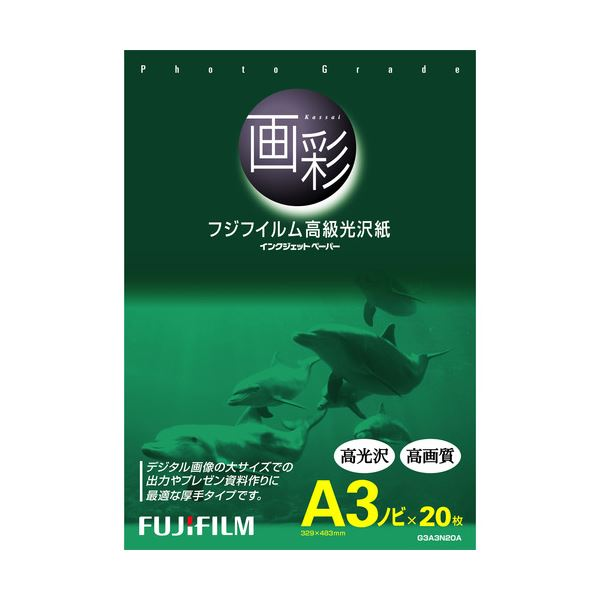(まとめ) 富士フィルム FUJI 画彩 高級光沢紙 A3ノビ G3A3N20A 1冊(20枚) 【×5セット】