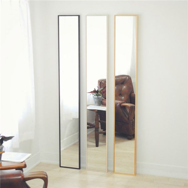 スリムミラー/全身姿見鏡 【ホワイト】 壁掛け 幅22×高さ153cm 天然木 木製 フレーム シンプル 日本製 国産 〔玄関 廊下 居間 寝室〕 白