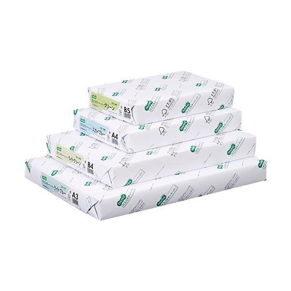 (まとめ) TANOSEE αエコカラーペーパーII A3 ライトグリーン 1冊(500枚) 【×10セット】 緑