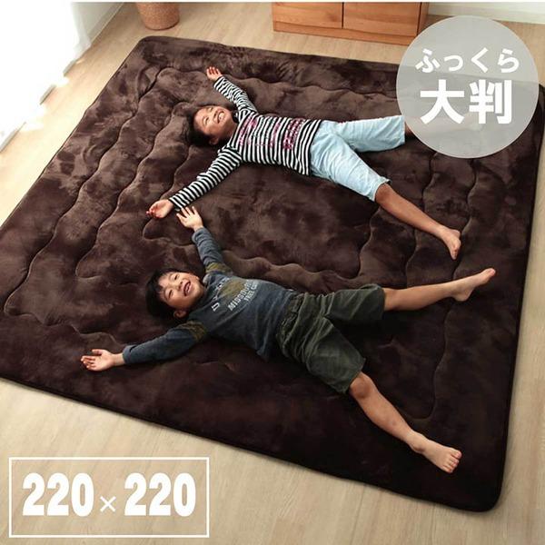 ラグ こたつ敷き布団 正方形 幅広ラグ ブラウン 約220×220cm 茶