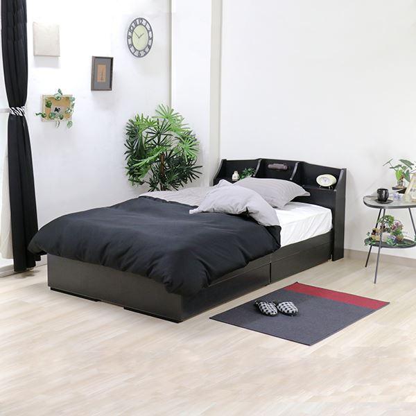 ベッド 日本製 ブラック ダブル マットレスセット ポケットコイル 収納付き 引き出し付き 棚付き 宮付き コンセント付き 照明付き ダブルベッド 黒