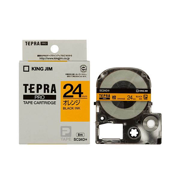 (まとめ) キングジム テプラ PRO テープカートリッジ パステル 24mm オレンジ/黒文字 SC24D 1個 【×10セット】