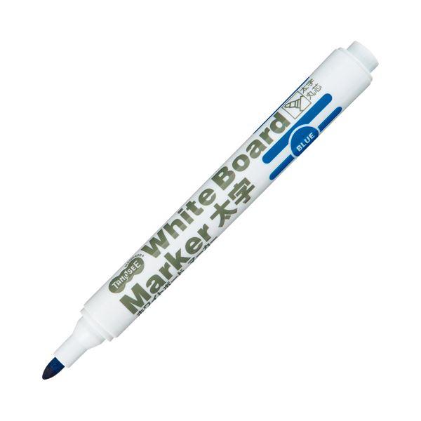 (まとめ) TANOSEE ホワイトボードマーカー 太字丸芯 青 1本 【×300セット】 白