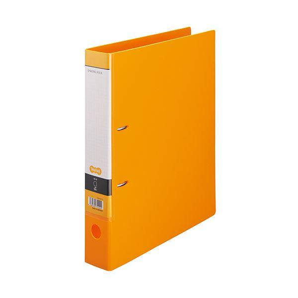 (まとめ)TANOSEE DリングファイルA4タテ 2穴 350枚収容 背幅53mm オレンジ 1セット(10冊) 【×2セット】