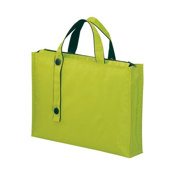 (まとめ)LIHITLAB キャリングバッグ2WAYワイドA-7651-6黄緑【×5セット】