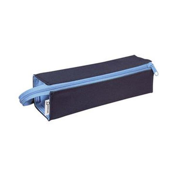 (まとめ)コクヨ ペンケース(C2)トレータイプ ネイビー×アクアブルー F-VBF122-1 1セット(4個)【×3セット】 青