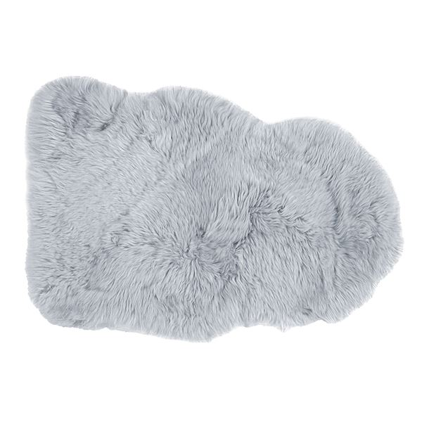 ニュージーランド産 天然ムートンの1匹 ラグマット 【約60×90cm グレー】 表面:羊毛皮100% 吸水性 放湿性 『M-511-F』