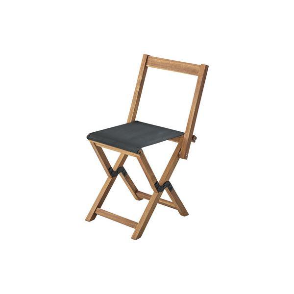 モダン 折りたたみ椅子 3脚セット 【ブラック】 幅42cm 木製 オイル仕上 ポリエステル 〔アウトドア イベント レジャー〕 黒