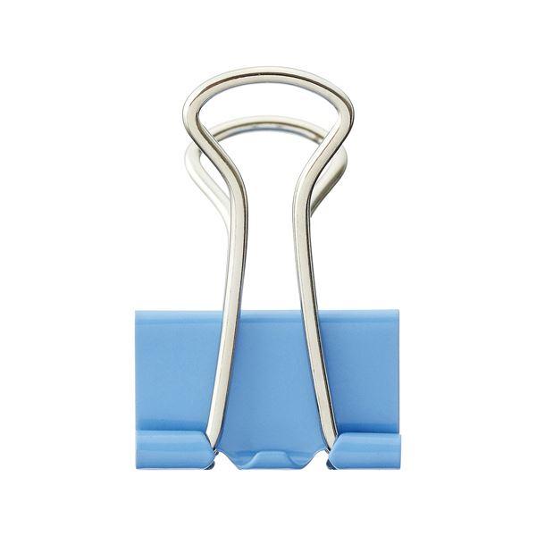 (まとめ) TANOSEE ダブルクリップ 中 口幅25mm ライトブルー 1箱(10個) 【×100セット】 青