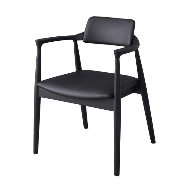ダイニングチェア/食卓椅子 【ブラック】 幅57cm×奥行46cm×高さ75cm×座面高43cm 肘付き 木製素材 〔リビング〕 JPC-212BK 黒