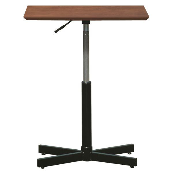 昇降サイドテーブル 【ダークブラウン×ブラック】 幅60cm 日本製 木製 スチールパイプ 耐荷重30kg 『ブランチ ヘキサテーブル』【代引不可】