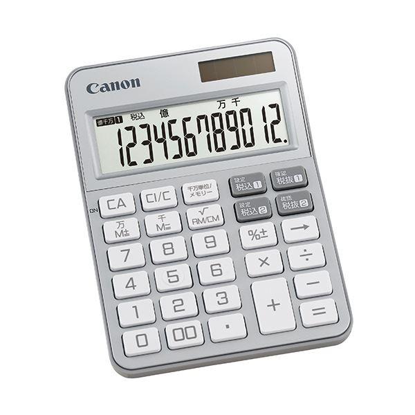 (まとめ) キヤノン カラフル電卓 ミニ卓上KS-125WUC-SL 12桁 シルバー 2307C002 1台 【×10セット】