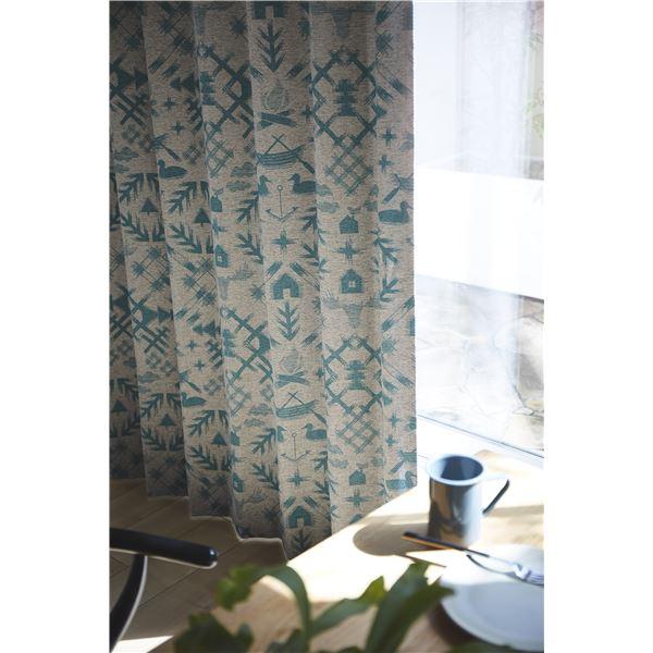 サーナヤオッリ 遮光カーテン J1008 ザワイルドノースランド【100×200cm グリーン】 緑