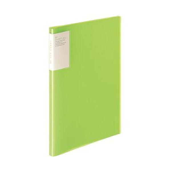 (まとめ)コクヨ クリヤーブック(キャリーオール)固定式・背ポケット A4タテ 20ポケット 背幅13mm 黄緑 ラ-5001LG 1セット(6冊)【×5セット】