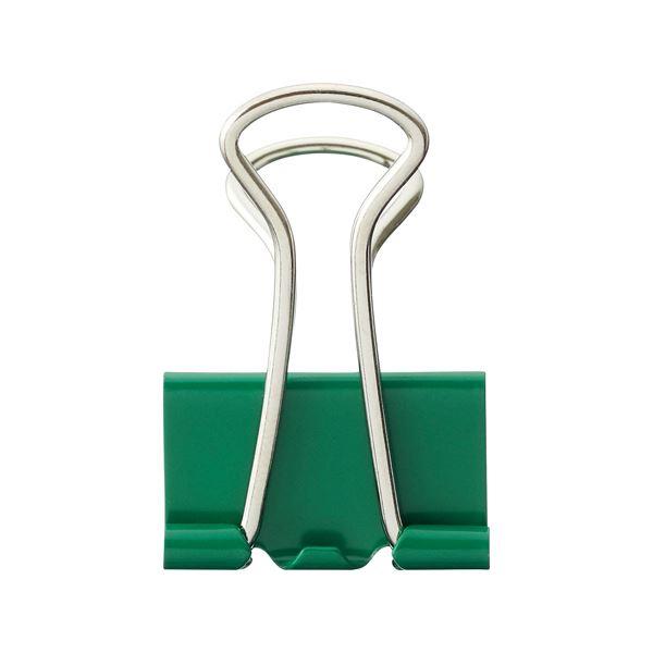 (まとめ) TANOSEE ダブルクリップ 中 口幅25mm グリーン 1箱(10個) 【×100セット】 緑