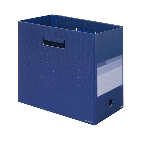 (まとめ)プラス デジャヴカラーズシリーズボックスファイル ワイド A4ヨコ 背幅160mm ネイビーブルー FL-024BFNB 1冊 【×20セット】