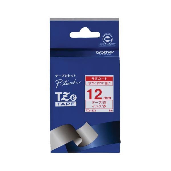 (まとめ) ブラザー BROTHER ピータッチ TZeテープ ラミネートテープ 12mm 白/赤文字 TZE-232 1個 【×10セット】