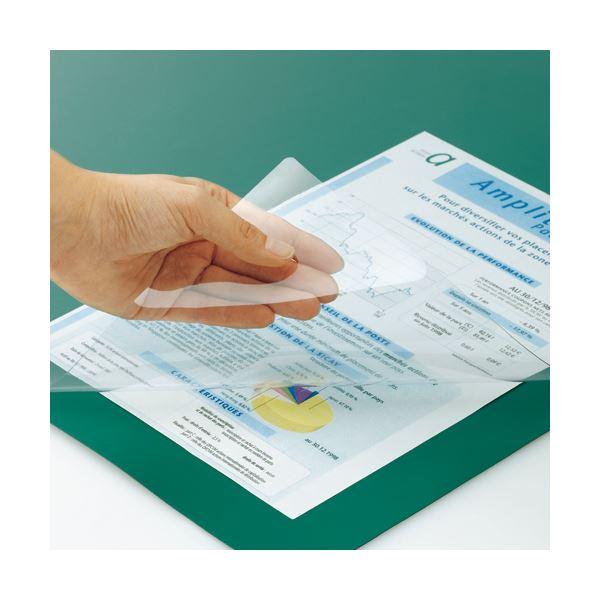 (まとめ) TANOSEE PVCデスク (テーブル 机) マット ダブル(下敷付) 1390×690mm グリーン 1枚 【×5セット】 緑