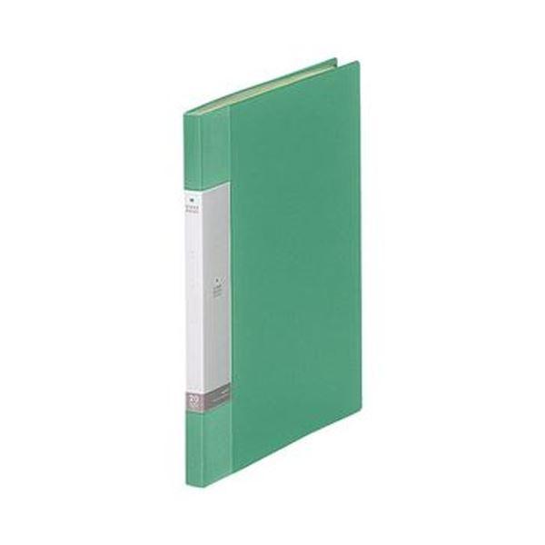 (まとめ)リヒトラブ リクエスト クリヤーブックA4タテ 20ポケット 背幅16mm 緑 G3201-7 1セット(10冊)【×5セット】
