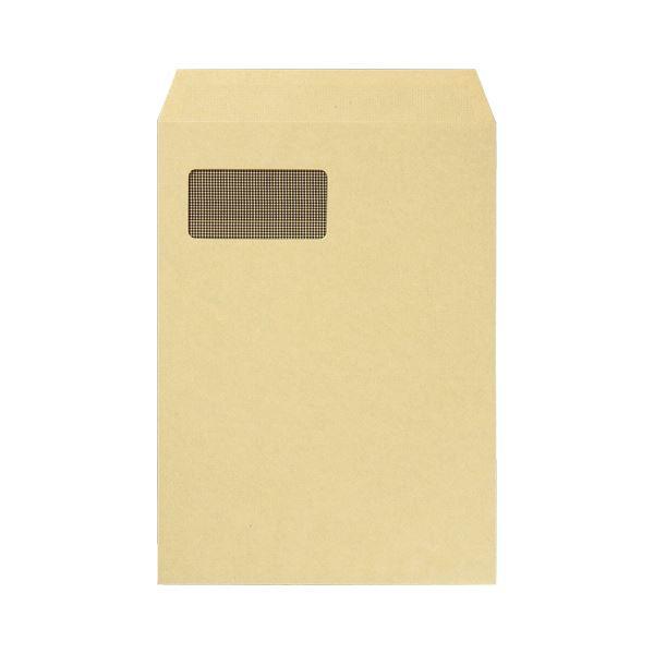 (まとめ)TANOSEE 窓付封筒 裏地紋付 A4テープのり付 85g/m2 クラフト(窓:グラシン紙)1パック(100枚)【×2セット】