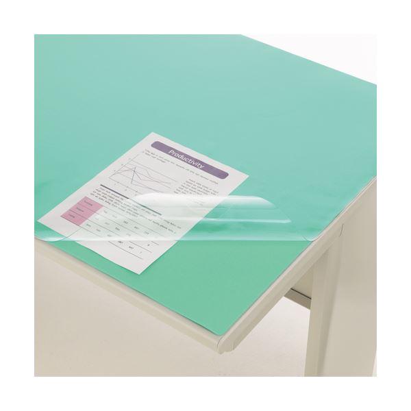 (まとめ) ライオン事務器 デスク (テーブル 机) マット PVC製光沢仕上 ダブル(グリーンマット付) 1050×720×0.8mm No.5-PE 1枚 【×5セット】 緑