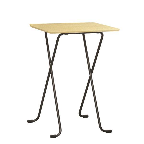 折りたたみハイテーブル 【角型 ナチュラル×ブラック】 幅60cm 日本製 木製 スチールパイプ 〔ダイニング リビング〕【代引不可】