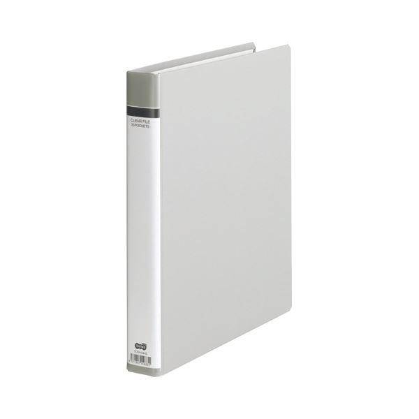 (まとめ) TANOSEE クリヤーファイル(貼り表紙) A4タテ 30穴 25ポケット付属 背幅42mm グレー 1冊 【×10セット】