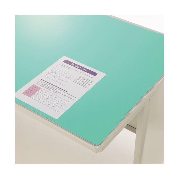 (まとめ)ライオン事務器 デスク (テーブル 机) マット アクリル製硬質透明タイプ ダブル(グリーンマット付) 1045×620×1.8mm No.6 1枚【×3セット】 緑