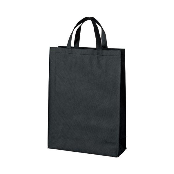 (まとめ)スマートバリュー 不織布手提げバッグ中10枚ブラックB451J-BK【×5セット】 黒