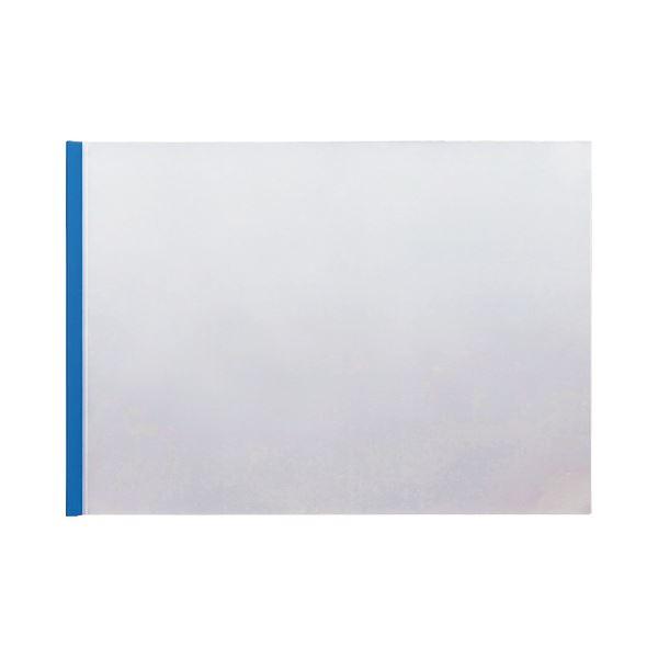 (まとめ) TANOSEE スライディングレールホルダー A3ヨコ 20枚収容 ブルー 1パック(10冊) 【×10セット】 青