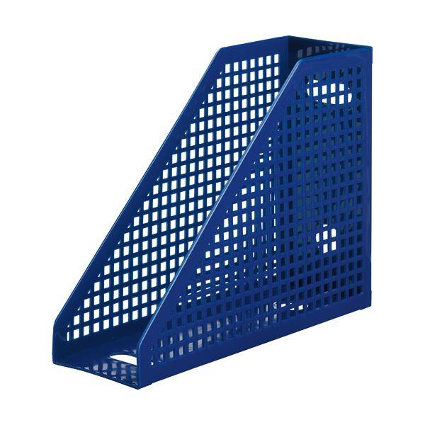 (まとめ) TANOSEE メッシュボックス A4タテ 背幅103mm 青 1個 【×30セット】