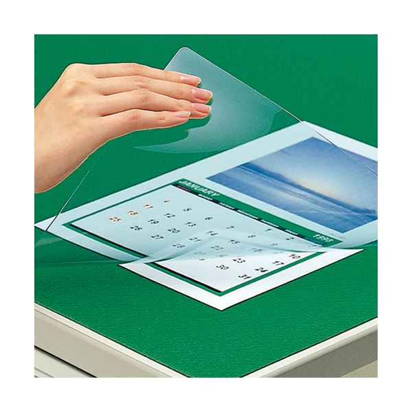 (まとめ) コクヨ デスク (テーブル 机) マット軟質(非転写) ダブル(下敷付) 600×450mm グリーン マ-400G 1枚 【×5セット】 緑