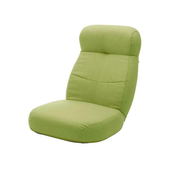 大型 座椅子/フロアチェア 【グリーン】 幅62cm 日本製 スチールパイプ ポケットコイルスプリング 〔リビング〕 緑