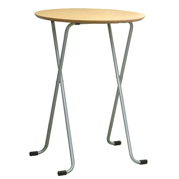 折りたたみハイテーブル 【丸型 ナチュラル×シルバー】 幅60cm 日本製 木製 スチールパイプ 〔ダイニング リビング〕【代引不可】