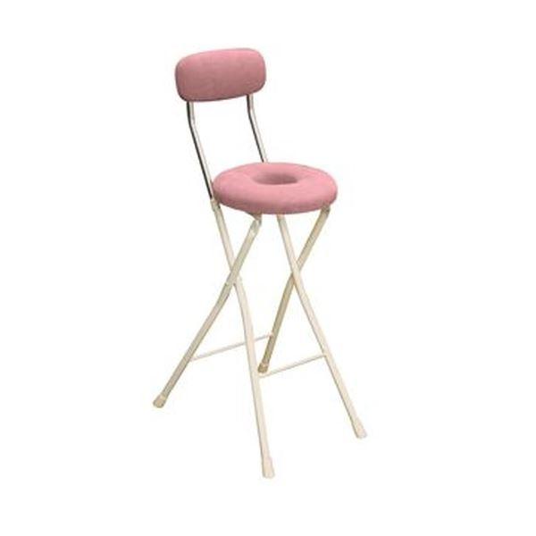 円座 折りたたみ椅子 【1脚販売 ピンク×ミルキーホワイト】 幅36cm 日本製 スチール 白