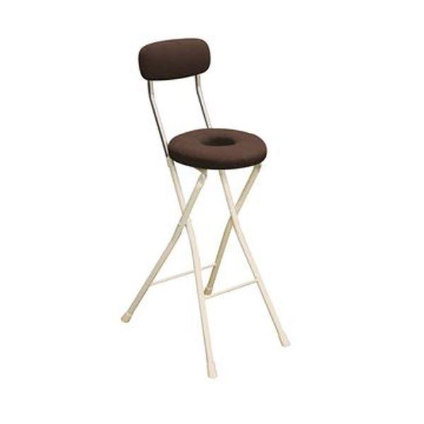 円座 折りたたみ椅子 【1脚販売 ブラウン×ミルキーホワイト】 幅36cm 日本製 スチール 白 茶