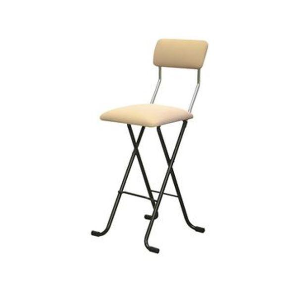 折りたたみ椅子 【1脚販売 ベージュ×ブラック】 日本製 スチールパイプ 幅400×奥行460×高さ940 黒