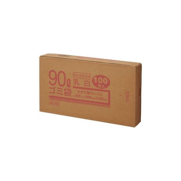 (まとめ)クラフトマン 90Lゴミ袋 乳白 ボックス入 100枚【×3セット】