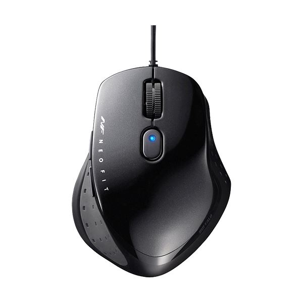 (まとめ)バッファロー 有線 BlueLED5ボタン ネオフィットマウス Mサイズ ブラック BSMBU510MBK 1個【×3セット】