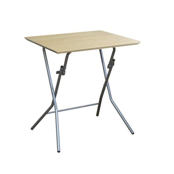 折りたたみテーブル 机 【幅63.5cm ナチュラル×シルバー】 日本製 国産 木製 金属 スチール パイプ 『スタンドタッチテーブル 645』