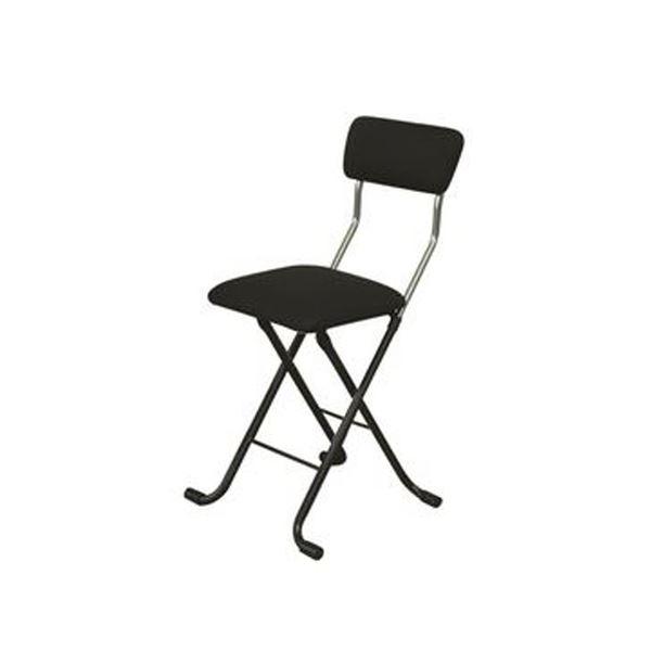 折りたたみ椅子 【1脚販売 ブラック×ブラック】 日本製 スチールパイプ 幅400×奥行445×高さ765 黒