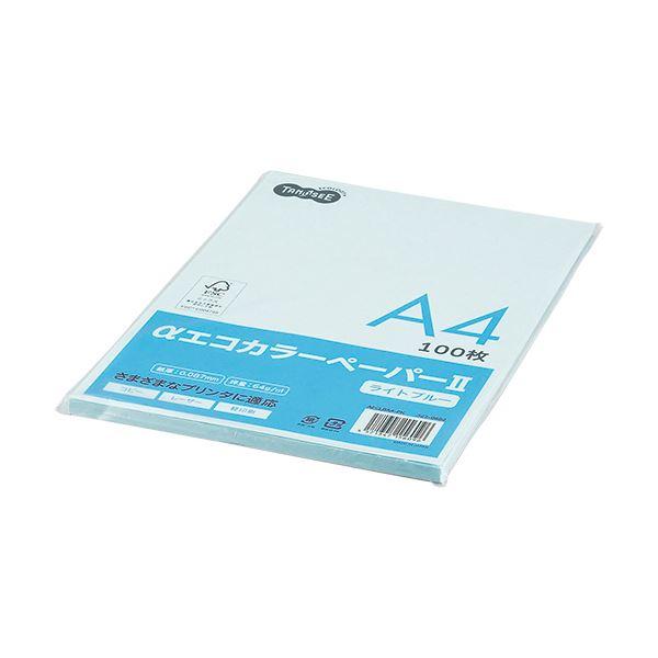(まとめ) TANOSEE αエコカラーペーパーII A4 ライトブルー 少枚数パック 1冊(100枚) 【×30セット】 青