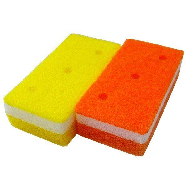 (まとめ)オーエ 泡キュット ソフトスポンジ オレンジ、イエロー 2個入り PU-50980 (食器用スポンジ) 【48個セット】 黄