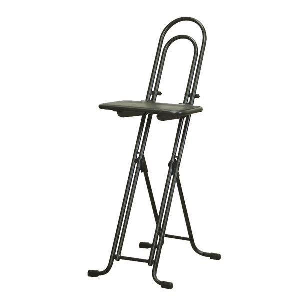 シンプル 折りたたみ椅子 【ブラック×ブラック 幅330mm】 日本製 スチールパイプ 『ベストワークチェア』【代引不可】