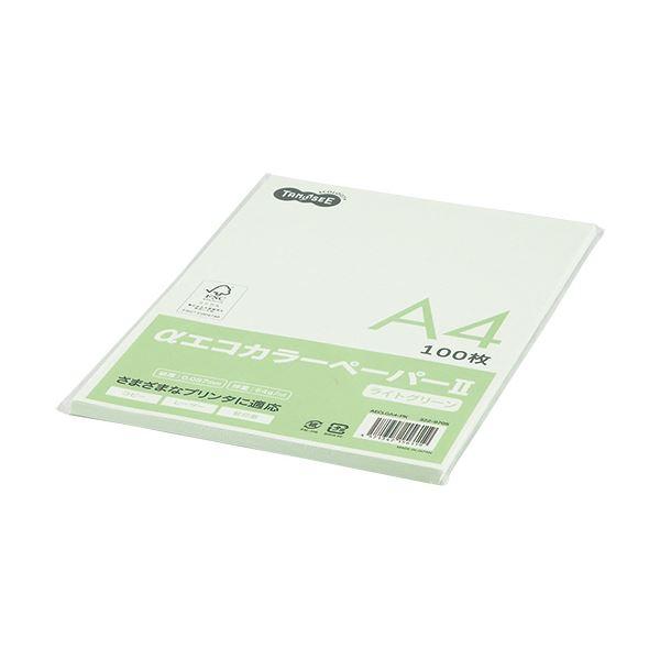 (まとめ) TANOSEE αエコカラーペーパーII A4 ライトグリーン 少枚数パック 1冊(100枚) 【×30セット】 緑